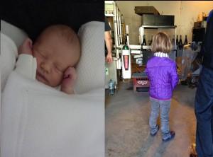 5 ans et demi séparent ces deux photos. A droite, Albane avant de partir à l'école, intriguée par les machines de champagnisation.